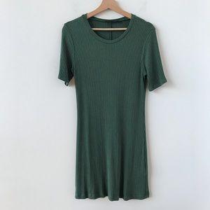 Reformation ribbed green Gigi T-shirt dress
